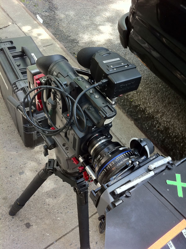 Panasonic AF100 rig on tripod